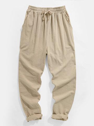Solid Drawstring Elastic Waist Pants