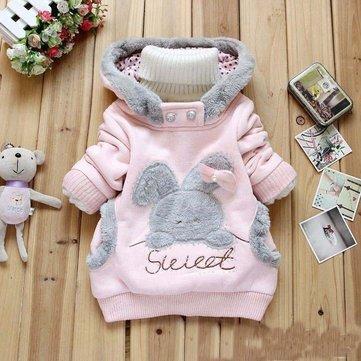 Girl Fleece Rabbit Cartoon Jacket Children Sweater