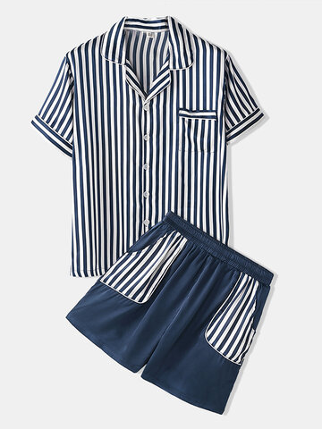 Two Pieces Stripe Soft Pajamas Sets