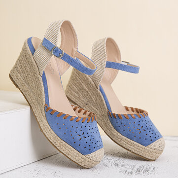 LOSTISY Hollow Comfy Wedges Sandals