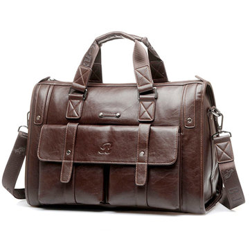 Business Crossbody Compound Cowhide Briefcase