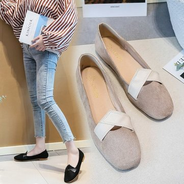 Square Head Grandmother Shoes Female Flat Shoes Single Models Female Retro Shallow Mouth Fairy Boat Shoes Students Low Heel