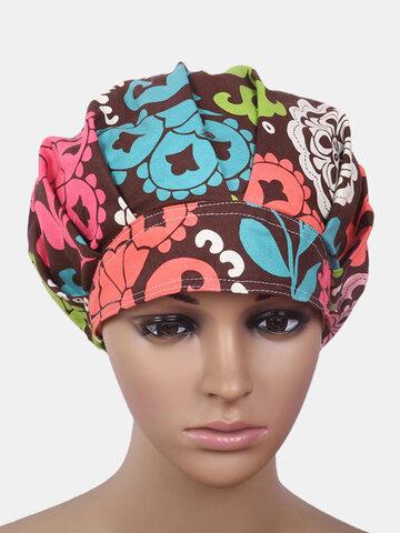 قبعة فرك الجراحية غطاء منتفخ طباعة موضوع النسيج الطبي