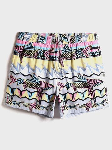 Shorts de impressão de peixes coloridos