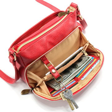 Women Multi-pockets Solid PU Leather Crossbody Bag