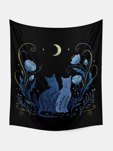 Cat And Floral Overlay Print Pattern Tapestry Art Home Decoration Living Room Bedroom Decoration