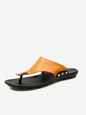Men Leather Flip Flops