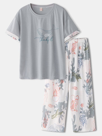 Marine Life Print Cotton Pajamas