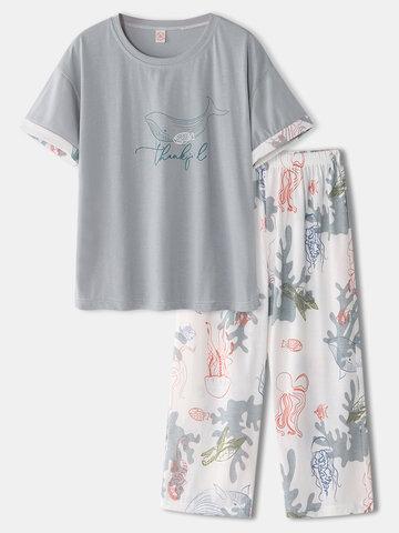 Pijama de algodón con estampado de vida marina