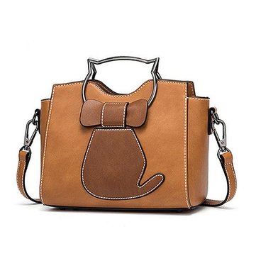 Women Cute Cat Pattern Handbags Leisure Shoulder Bags