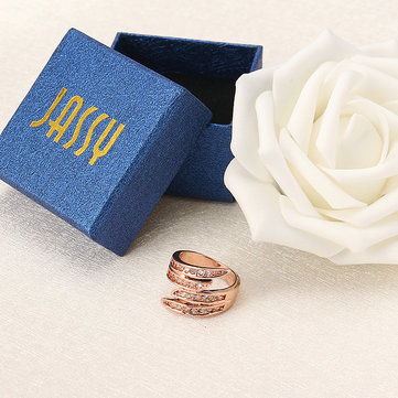 JASSY® Sweet Rose Gold Ring Fashion Multilayer Zirconia Women Jewelry