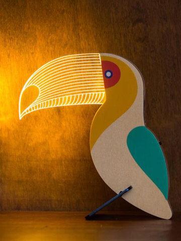 1 PC Parrot Bird Fun Light Fashion Design Wooden Figure 3D LED Night Light Warm White Novelty Kid Bedroom Decoration Table Lamp Gift