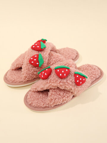 Cute Fruit Pattern Home Cotton Slippers