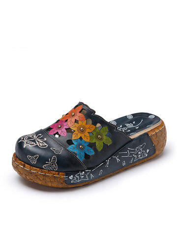 SOCOFY Leather Butterfly Print Silppers
