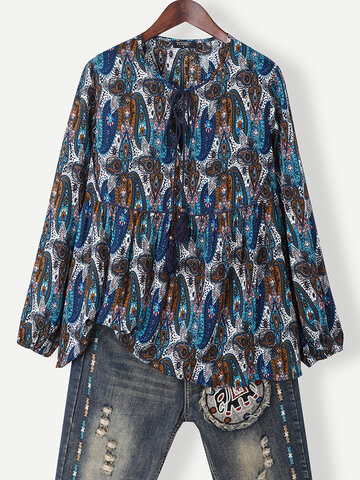 Ethnic Pattern Print Knotted Blouse