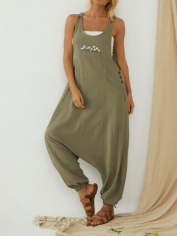 Daisy Embroidered Button Jumpsuit