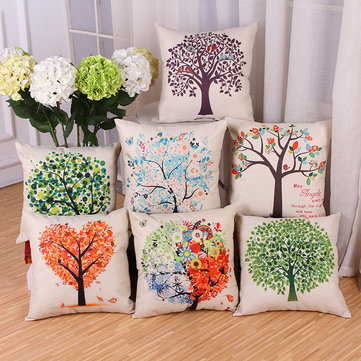 Colorful Trees Printed Cushion Cover, White