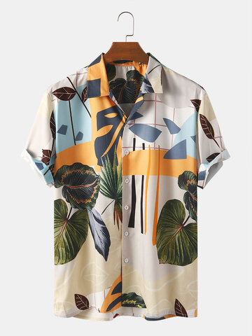Abstract Leaf Print Shirt