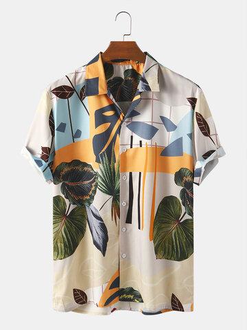 Abstraktes Blatt-Druck-Shirt