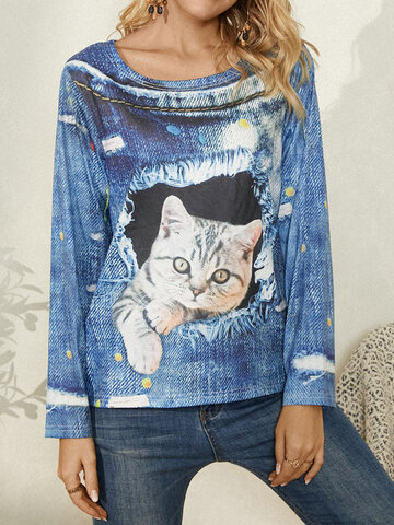 Cat Print Casual Blouse