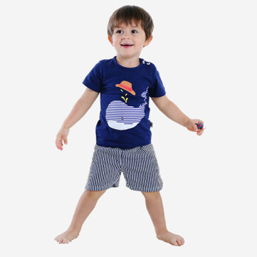 Boy's Dolphin Striped Print Pajama For 1-5Y