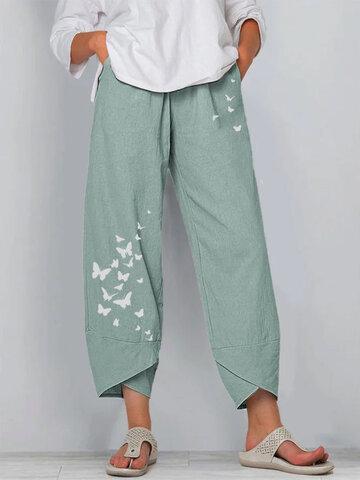Butterflies Print Pants