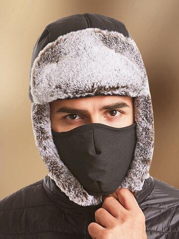 Men 2PCS Plush Plus Velvet Ear Face Protection Windproof Trapper Hat