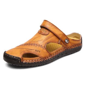 Menico Men Hand Stitching Closed Toe Leather Sandals