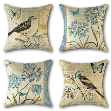 Vintage Birds Floral Butterfly Linen Cushion Cover