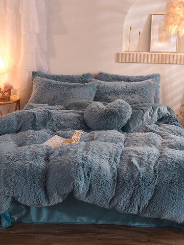 4Pcs AB Sided Einfarbig Kristall Samt Bequeme Bettwäsche Bettbezug Set Kissenbezug Erwachsene Bett Bettbezug Set