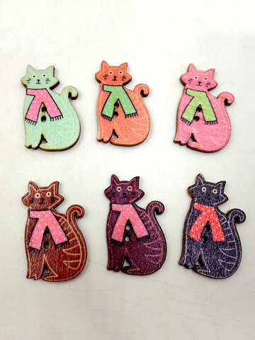 50 Pcs Cute Cat Shaped Animals Wooden Sewing Buttons