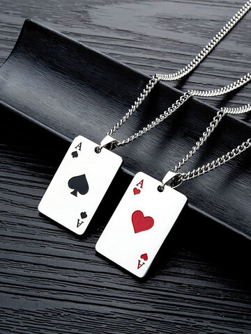 Titanium Steel Playing Card Necklace