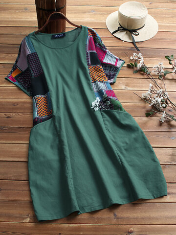 Ethnic Print Patchwork Vintage Dress