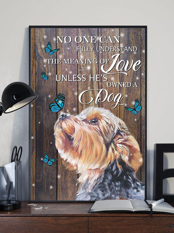 Dog And Letter Pattern Canvas Painting Unframed Wall Art Canvas Living Room Home Decor