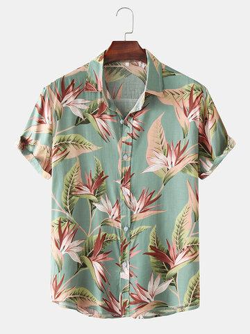 Classical Oil Print Leaf Short Sleeve Shirts