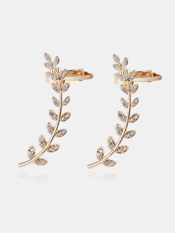 Gold Plated Earrings Leaves Rhinestone Earrings