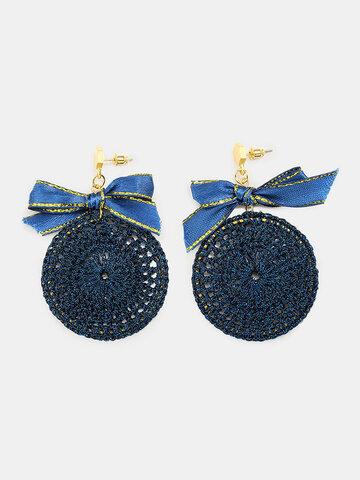 Ethnic Bowknot Round Pendant Earrings