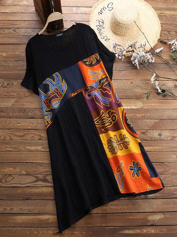 Vestido de retalhos de estampa vintage