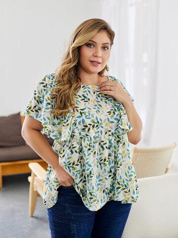 Floral Print Short Sleeve Blouse