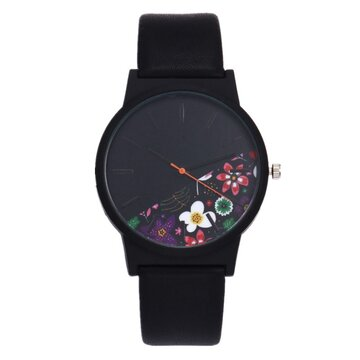 Trendy Leather Floral Wristwatch