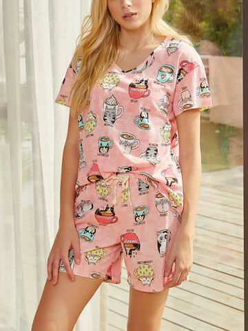 Multi Cat Pattern Cotton Pajamas