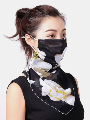 Floral Masks Neck Protection Sunscreen Ear-mounted Scarf