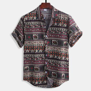 Mens Floral Printing Ethnic Style Cotton Shirts