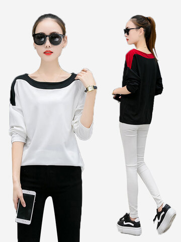 Loose Round Neck Colorblock Long Sleeves Sweaters
