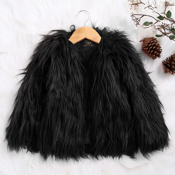 Faux Fur Girls Winter Coat For 2Y-11Y