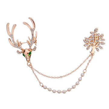Broche Unissex de luxo Crystal Deer Tree Artificial Pearl Gift Broches de Natal