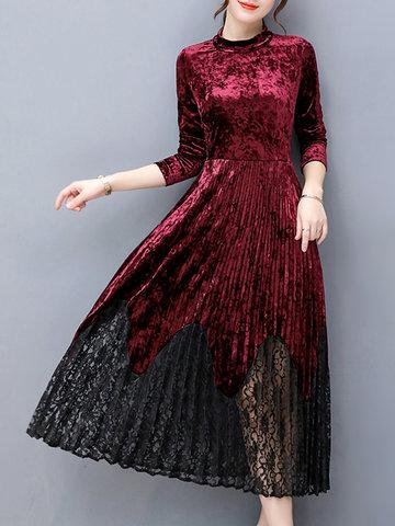 Elegant Lace Patchwork Velvet Dresses