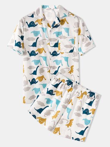 Funny Dinosaur Print Pajamas