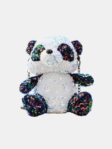 Mochila de felpa linda Colorful Lentejuelas Panda Crossbody para padres e hijos Bolsa
