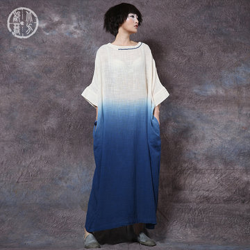 embroidery cotton linen retro large size loose dress